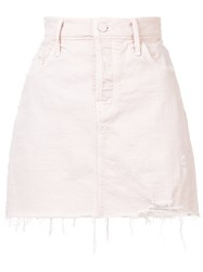 Mother Frayed Denim Skirt Pink And Purple