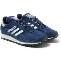 Adidas Originals New York Nubuck And Mesh Sneakers Navy