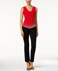 Msk Sleeveless Embellished Blouse Red