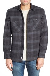 Men's Quiksilver 'Sane Rock' Plaid Flannel Shirt Jacket Black