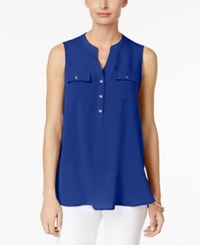 Charter Club Two Pocket Blouse Only At Macy's Modern Blue