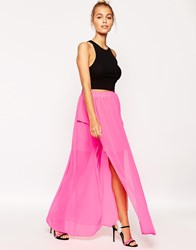 Lashes Of London Neon Maxi Skirt With Side Split Pink