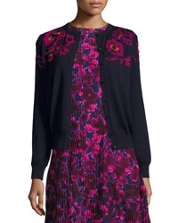 Oscar De La Renta Rose Embroidered Long Sleeve Cardigan Navy Pink Blue Pattern