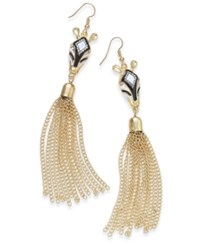 Thalia Sodi Gold Tone Zebra Fringe Drop Earrings Only At Macy's