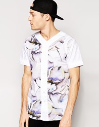 Standard Issue Baseball Shirt With All Over Large Floral Sublimation Print White