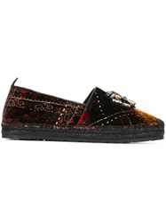 Etro Embellished Plaid Slippers Black