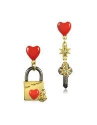 Les Nereides Paris Mon Amour Engraved Lock Earrings Gold