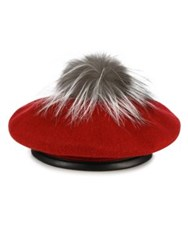 Eugenia Kim Hadley Hadley Fox Fur Wool And Leather Beret Wine