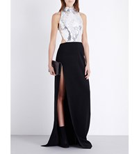 Thierry Mugler Sequin Embellished Crepe Gown Black Silver