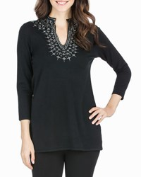 Joan Vass Embellished Neck 3 4 Sleeve Tunic Black