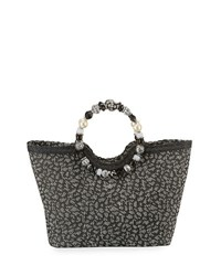 Cappelli Straworld Beaded Ring Animal Print Straw Tote Bag Black