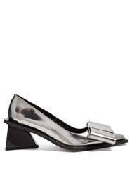 Marques Almeida Oversized Bow Leather Pumps Silver