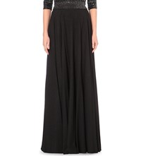 Jenny Packham Pleated Crepe Maxi Skirt Black
