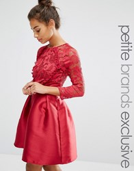 Little Mistress Petite Ruffle And Lace Detail Bodice Mini Dress With Sateen Skirt Red