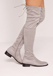 Missguided Flat Over The Knee Boots Grey Grey