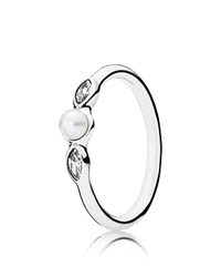 Pandora Design Pandora Ring Sterling Silver Cubic Zirconia And Cultured Freshwater Pearl Petite Luminous Leaves