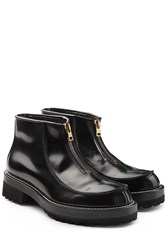 Marni Glossy Leather Zip Front Boots Black