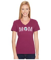 Life Is Good Mom Daisy Crusher Vee Deep Plum Women's T Shirt Purple