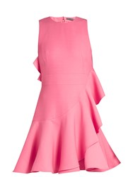Alexander Mcqueen Asymmetric Fluted Wool Blend Dress Pink