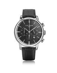 Locman 1960 Silver Stainless Steel Men's Chronograph Watch W Black Croco Embossed Leather Strap