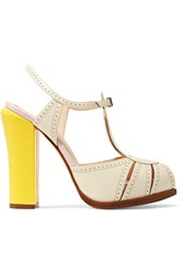 Fendi Perforated And Lizard Effect Leather Mary Jane Pumps Off White