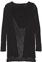 James Perse Hooded Open Knit Cotton And Linen Blend Cardigan Black