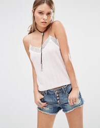 New Look Lace Trim Cami Top Pink