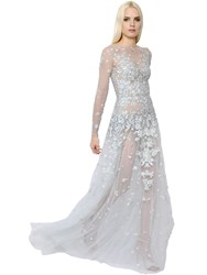 Zuhair Murad Beaded Embroidered Lace And Tulle Gown