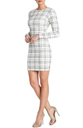Women's Dress The Population 'Sandra' Sequin Plaid Textured Knit Body Con Dress Ivory Pewter