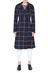 Akris Punto Grid Jacquard Trench Coat Nero Crema
