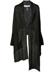 Isabel Benenato Long Asymmetric Cardigan Women Linen Flax 40 Black