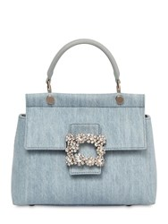 89c07b4ecce1 Roger Vivier Mini Viv Cabas Embellished Denim Bag