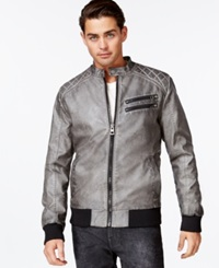 Guess Quilted Faux Leather Bomber Jacket