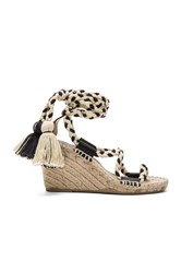 Soludos Gladiator Lace Up Wedge Black And White