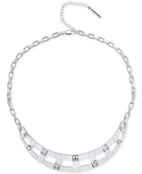 T Tahari Silver Tone Crystal Collar Necklace