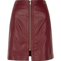 River Island Womens Burgundy Leather Look Zip Mini Skirt