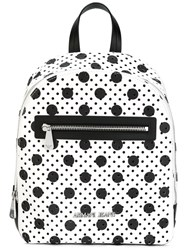 Armani Jeans Perforated Circle Print Backpack Women Pvc One Size White