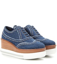 Miu Miu Platform Denim Oxford Shoes Blue
