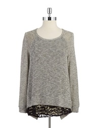 Casual Couture By Green Envelope Split Back Mixed Media Top Grey