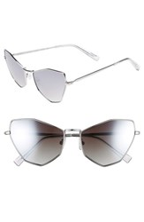 Kendall Kylie Liara 57Mm Cat Eye Sunglasses Silver Smoke Gradient Flash Silver Smoke Gradient Flash