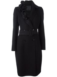 Ermanno Scervino Floral Collar Belted Coat Black