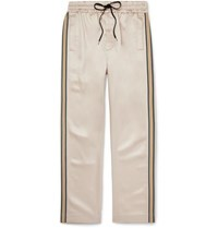 Cmmn Swdn Striped Satin Drawstring Trousers Beige