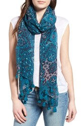 Hinge Women's Mixed Print Tassel Scarf Teal Combo