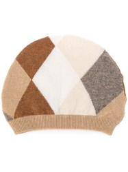 Pringle Of Scotland Cashmere Argyel Beanie Cashmere Brown