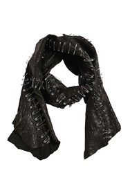 Cutuli Cult Patchwork Leather Scarf W Safety Pins Black