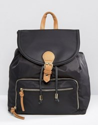New Look Contrast Buckle Backpack Black