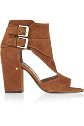 Laurence Dacade Rush Cutout Suede Sandals Light Brown