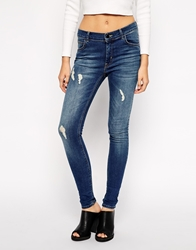 Just Female Storm High Waist Jeans With Distressing Blue