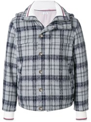 Thom Browne Tartan Down Filled Hairy Mohair Tech Jacket Grey