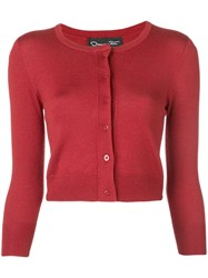 Oscar De La Renta Classic Slim Fit Cardigan Red